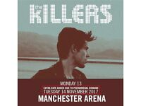 4x The Killers standing tickets, Manchester Arena, Tuesday 14th November 2017