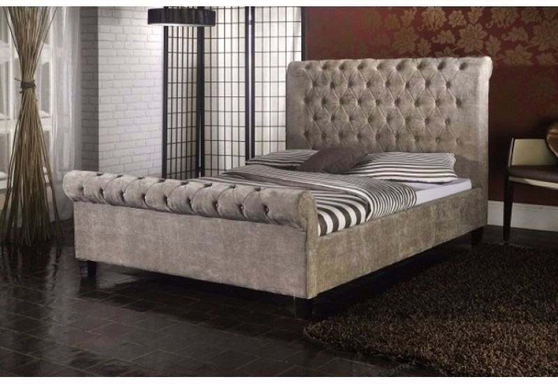 cheap price and strong frame new double king crushed velvet sleigh - Strong Bed Frame
