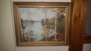 Beautiful vintage oil on board landscape painting - Autumn Lake