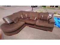 Large Leather And Fabric Corner Sofa