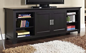 70-in TV Console with Sliding Doors - Black