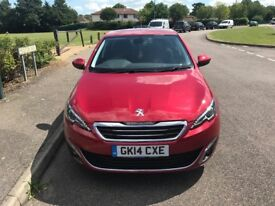 PEUGEOT 308 1.6 ONLY 18,000 MILES 2 OWNERS FROM NEW FULL PEUGEOT SERVICE HISTORY MOT APRIL 2018