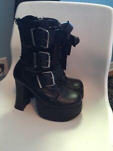 Goth style platform boots