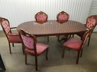 ITALIAN EXTENDABLE DINING TABLE & 6 SIX CHAIRS - FREE DELIVERY