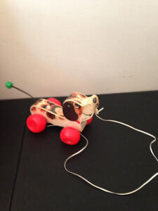 Vintage 1965 Fisher Price Wooden Puppy Pull Toy