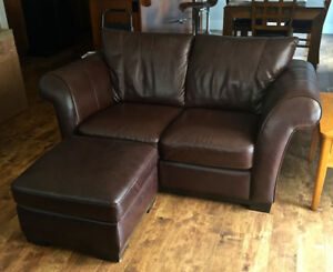 Leather Love Seat and Ottoman For Sale!