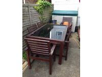 Large 6 person Garden table and chairs