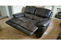 2 brown leather reclining settees