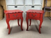 Pair of red, wooden, shabby chic French/ Boho style Bedside Tables