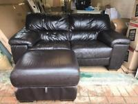 Two seater DFS brown leather sofa and otterman footstool