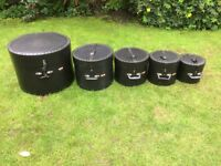 Drums - A Set Of LeBlond Hard Drum Cases - x 5 - Fusion Sizes - Will Split