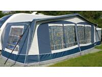 Dorema Carrera size 15 awning complete with tall Annex. Fibreglass poles in awning.