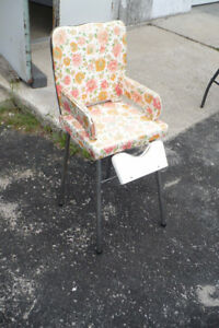 Vintage High Chair Kids Kitchen Seat Retro Used Chrome Legs Old