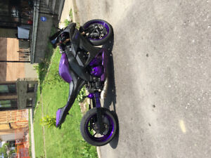 ZX10R purple and carbon! Fat tire kit! One of a kind!