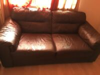 2 seater + 3 seater brown sofas very good condution .