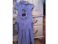 Bundle of age 5 School uniform navy pinafore blue blouses and blue and white check summer dresses