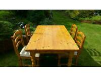 Solid pine kitchen table with 4 chairs