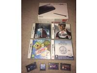Boxed black Nintendo Ds Lite console and games