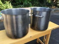 Pair of Very Large Commercial Catering Cooking Pots