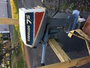 7.5 Evinrude boat motor and gas tank