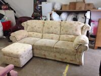 Beige patterned 3 seater sofa and foot stoll