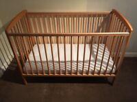 Cot, infants bed, adjustable