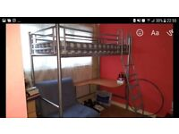 Loft bed with single futon