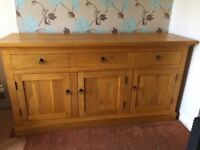 Solid oak unit with matching large solid oak table.