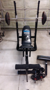 York Incline bench with 200lbs steel weights