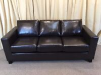 Brown Leather 3 Seater Sofa New Shop Ex Display - FREE Delivery Available
