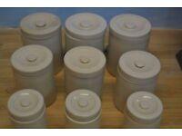 9 Ceramic Pots / Jars with Lids