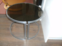 COFFEE TABLES - DESIGNER METAL AND GLASS ROUND.