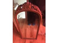 Large gold painted wooden framed mirror