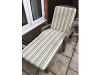2 Garden Loungers with Cushions - hardly used, good condition