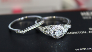 NEW 14k  twist halo natural diamond engagement ring set 1.00 CTW