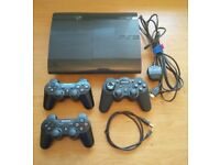 PS3 Slim 230GB with 3 controllers and all leads