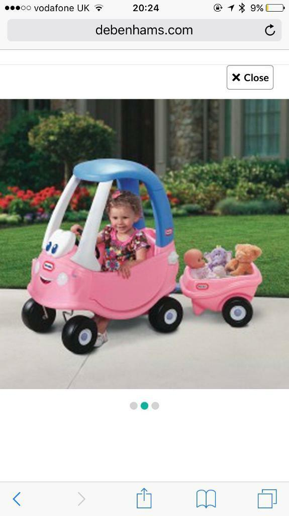 Pink little tikes crazy coupe with trailerin Neston, CheshireGumtree - Gorgeous little tikes crazy coupe in pink with matching pink trailer which we bought as extra!