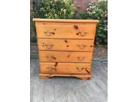 Retro solid pine chest of drawers, bargain free delivery