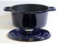 Cast Iron 24cm Round Casserole Dish Blue