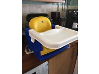 Strap on adjustable high chair with tray. Fits any normal dining chair