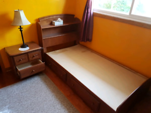 Twin Hardwood Bed Frame  with Night Table
