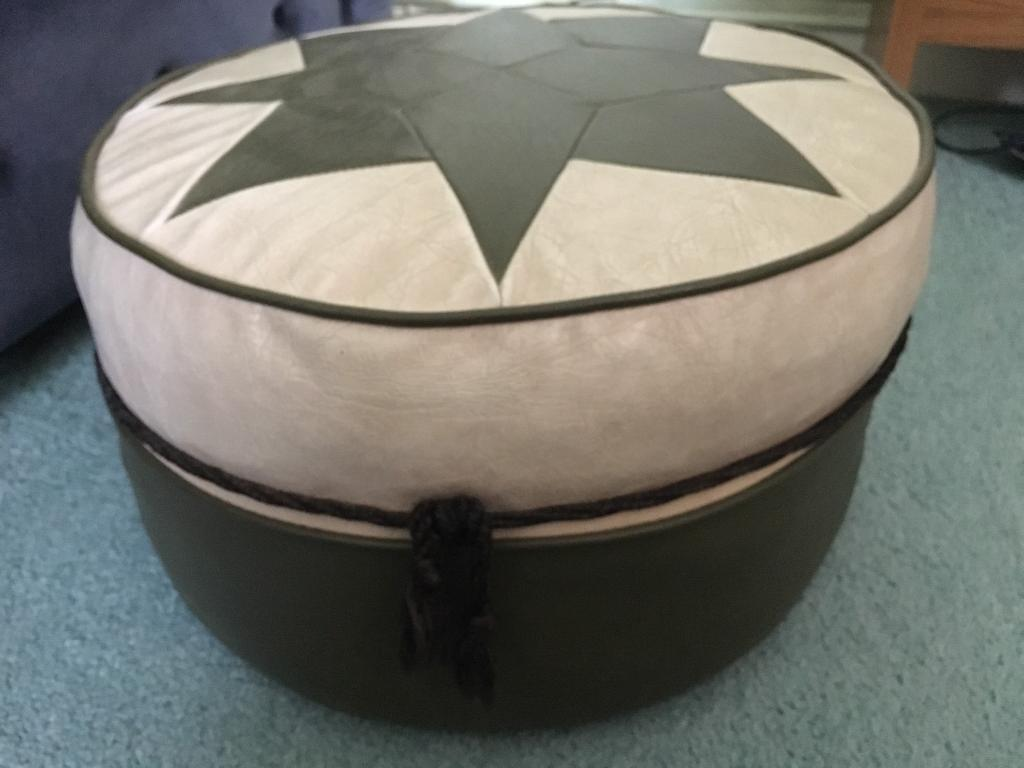 Vintage Faux Leather Foot/Seat Poofin St Georges, ShropshireGumtree - Vintage Retro Faux Leather Foot/Seat Poof.Cream & Green Neutral Colours.Diameter/Circumference 38cm.Height 23cm.No Rips or Tears.Lovely Condition for Age