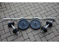45kg cast iron weights curling set - ez curl bar and pair of dumbbells / dumbells, home gym