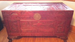 Chinese treasure hand carved large chest
