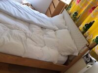 Large double bed, queensize bed, king size be with mattress. IKEA discontinued.