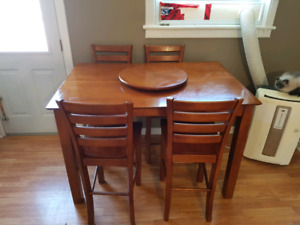 Pub height dining set - 8 chairs, leaf, lazy susan