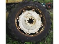 pair of tractor wheels with tyres