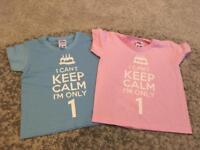 Twin birthday T.Shirts size 1yr
