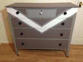 Chest Of Drawers Hand Painted Retro Shabby