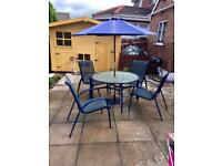 Garden Table & 4 Chairs & Brolly